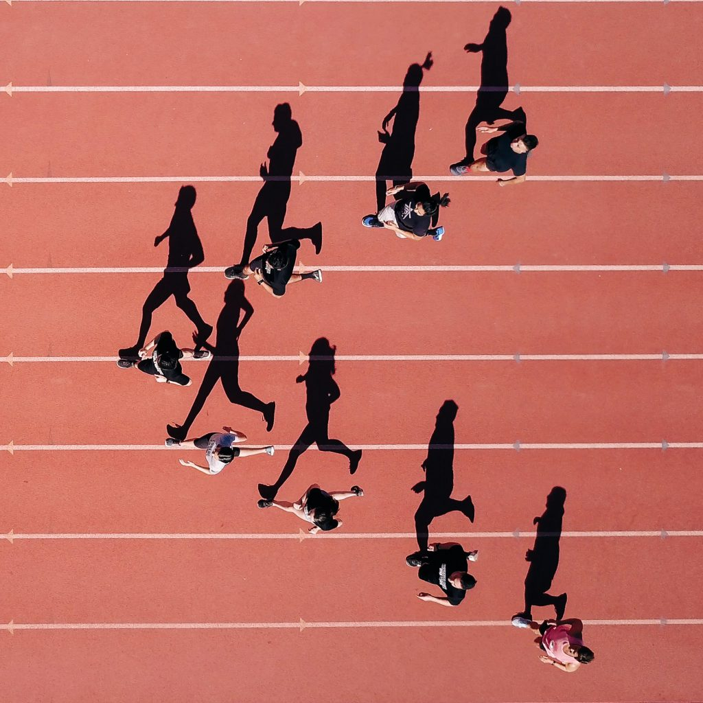people running on an athletics track